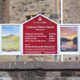Church sign, Church signs, church noticeboards, stained glass windows.